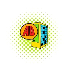 Billboard on a building wall icon comics style vector image