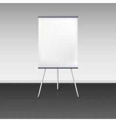 Blank flipchart stands near the wall vector image