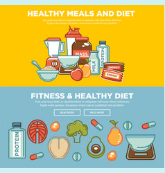 fitness food and sports healthy diet food vector image