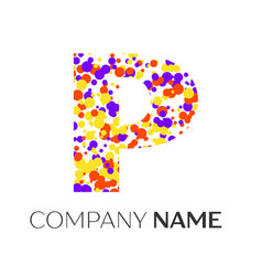 letter p logo with purple yellow red particles vector image