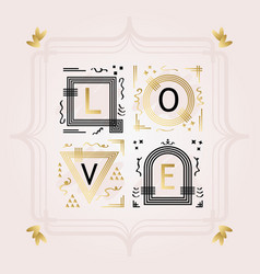Black and golden abstract word love frame emblems vector