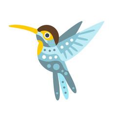 broad billed hummingbird colorful cartoon vector image