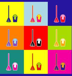 broom and bucket sign pop-art style vector image