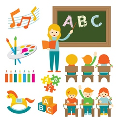 Kindergarten Preschool Teacher and Kids Set B vector image vector image