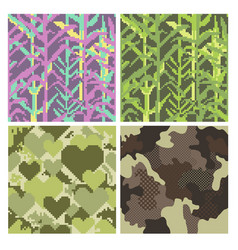 military pixelate seamless pattern set with grass vector image