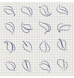 Outline sketch leaves set vector image vector image