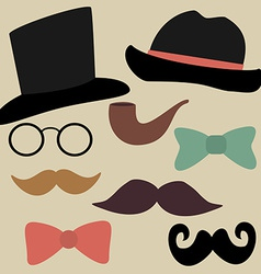 Set for Gentelmens Party Glasses Hats Bow Ties vector image vector image