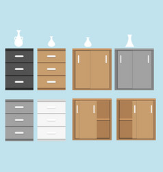 set of cabinet in flat style and vase vector image vector image
