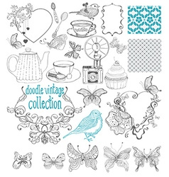 Vintage doodle elements - pattern flower butterfly vector image