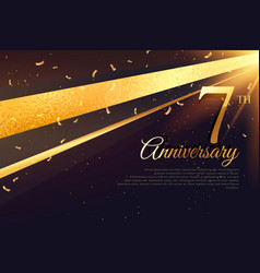 7th anniversary celebration card template vector image vector image