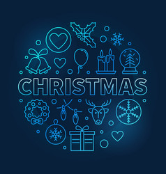 christmas round blue outline symbol on dark vector image vector image