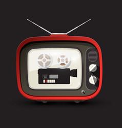 retro tv with movie film camera retro devices vector image