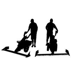 Set of different people with mowers vector