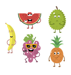 Set of funny characters from fruit 2 vector