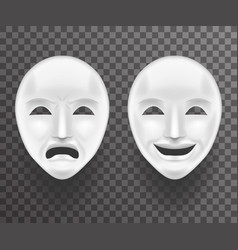 theatrical mask sadness and joy white actor play vector image
