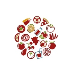 tomato icons in circle vector image vector image
