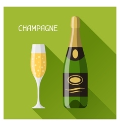 Bottle and glass of champagne in flat design style vector image