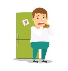 Fat man eating hamburger vector image vector image