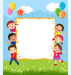 happy smiling group of kids showing blank board vector image