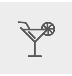Margarita drink with lemon thin line icon vector image