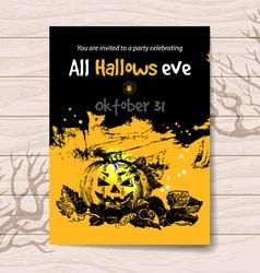 Vintage hand drawn Halloween invitation vector image vector image