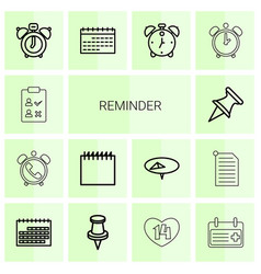 14 reminder icons vector