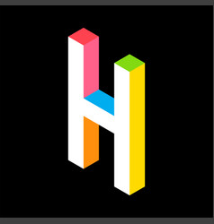 3d colorful letter h logo icon design template vector image