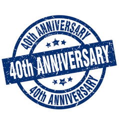 40th anniversary blue round grunge stamp vector
