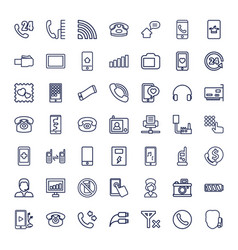 49 phone icons vector image