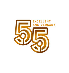 55 years excellent anniversary template design vector