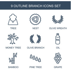 9 branch icons vector image