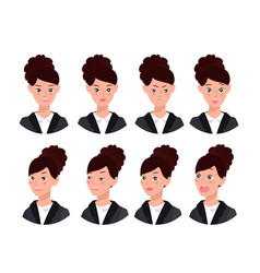 a set of emotions expression of a womans face vector image