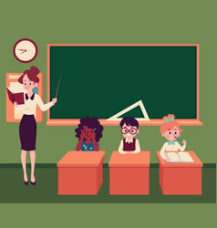 a teacher conducts a lesson in a classroom at a vector image