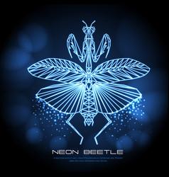 Abstract neon polygonal triangle praying mantis vector