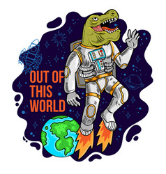 Astronaut dino t rex flying out vector