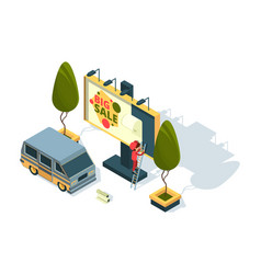 billboard isometric advertising installation vector image