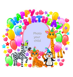 Birthday frame for your baphoto vector