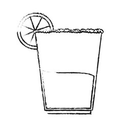 Blurred silhouette cartoon glass cup of cocktail vector