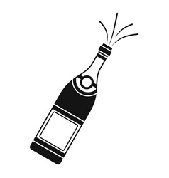 Bottle of champagne icon simple style vector