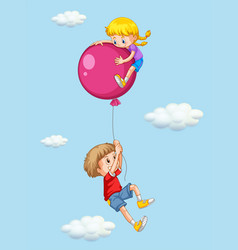 Boy and girl with pink balloon vector