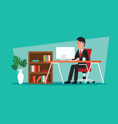 businessman working on computer in office vector image