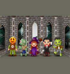 cartoon happy kids on the halloween day vector image