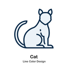 Cat line color icon vector