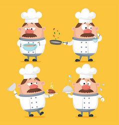 Chubby chef character cooking in uniform vector