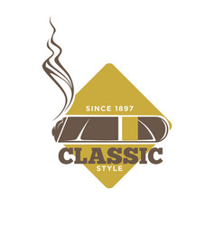 Classic style logotype with cigars against yellow vector