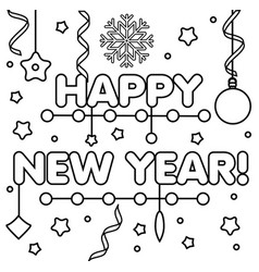 coloring page with happy new year text drawing vector image