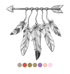 Colorng tribal arrow and feathers vector