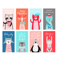 cute cards with woodland animals celebrating vector image