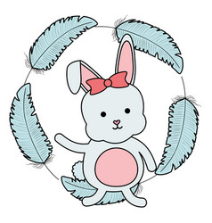 cute little rabbit with feathers frame vector image