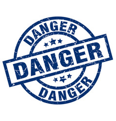 Danger blue round grunge stamp vector